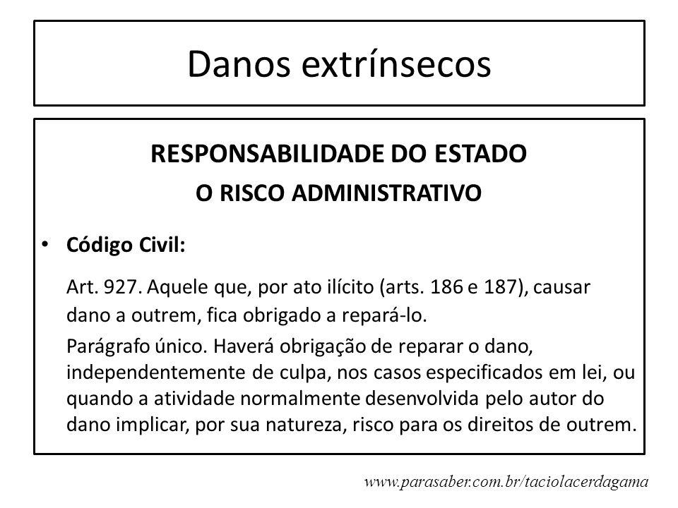 Danos extrínsecos RESPONSABILIDADE DO ESTADO O RISCO ADMINISTRATIVO Código Civil: Art. 927. Aquele que, por ato ilícito (arts. 186 e 187), causar dano