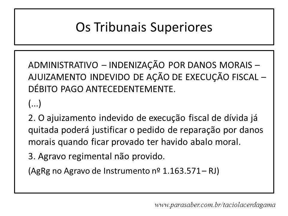 Os Tribunais Superiores ADMINISTRATIVO – INDENIZAÇÃO POR DANOS MORAIS – AJUIZAMENTO INDEVIDO DE AÇÃO DE EXECUÇÃO FISCAL – DÉBITO PAGO ANTECEDENTEMENTE