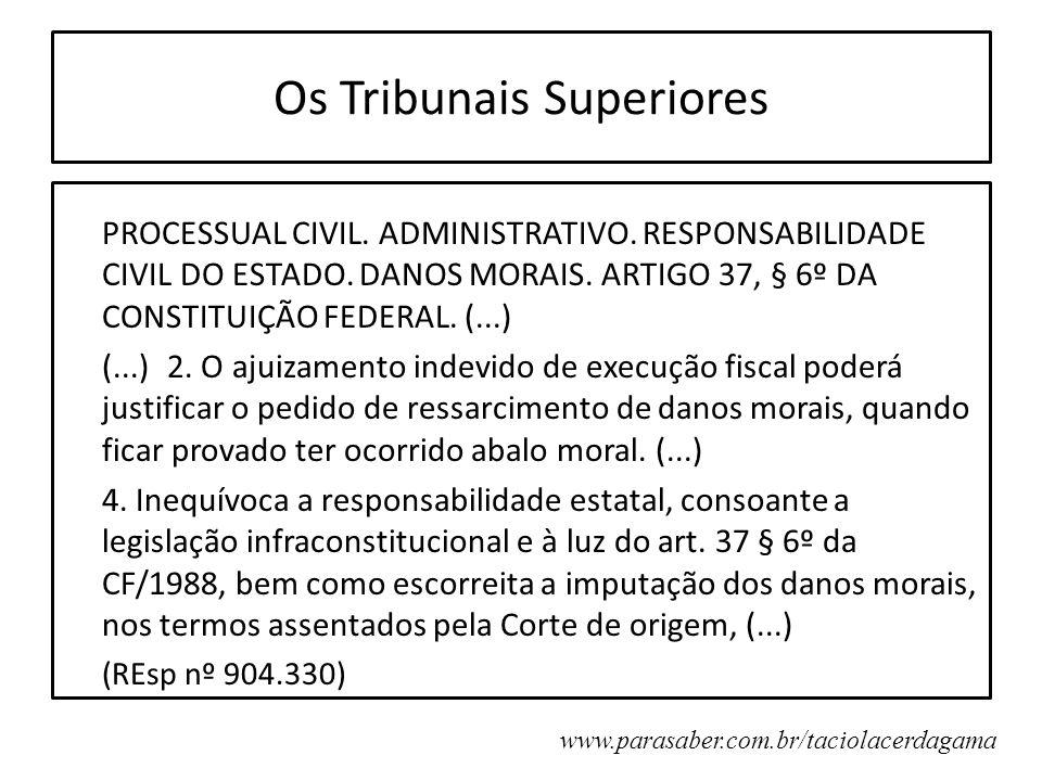 Os Tribunais Superiores PROCESSUAL CIVIL. ADMINISTRATIVO. RESPONSABILIDADE CIVIL DO ESTADO. DANOS MORAIS. ARTIGO 37, § 6º DA CONSTITUIÇÃO FEDERAL. (..