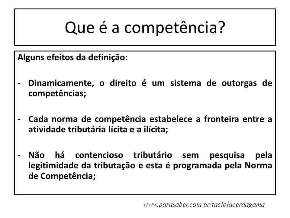 Que é a competência? Alguns efeitos da definição: -Dinamicamente, o direito é um sistema de outorgas de competências; -Cada norma de competência estab