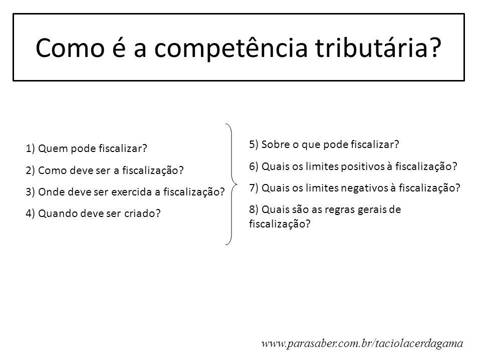 Como é a competência tributária? 1) Quem pode fiscalizar? 2) Como deve ser a fiscalização? 3) Onde deve ser exercida a fiscalização? 4) Quando deve se
