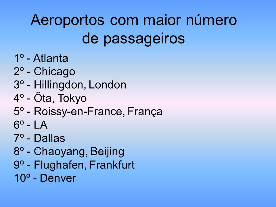 Aeroportos com maior número de passageiros 1º - Atlanta 2º - Chicago 3º - Hillingdon, London 4º - Õta, Tokyo 5º - Roissy-en-France, França 6º - LA 7º