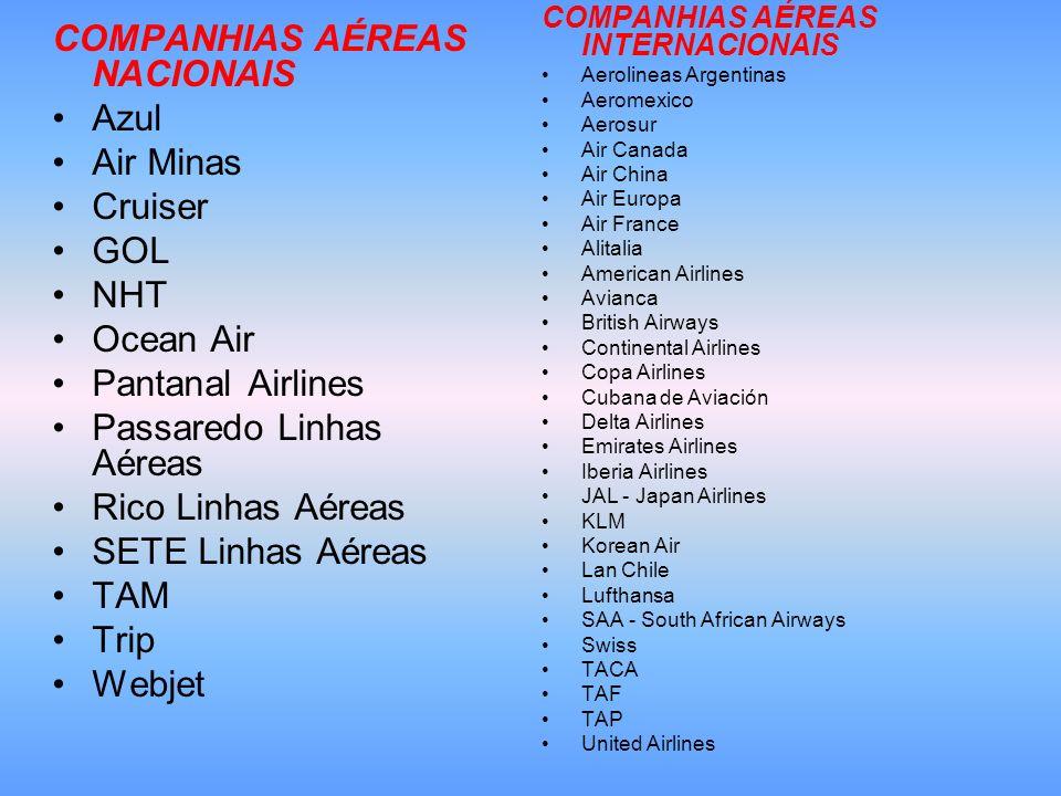 COMPANHIAS AÉREAS NACIONAIS Azul Air Minas Cruiser GOL NHT Ocean Air Pantanal Airlines Passaredo Linhas Aéreas Rico Linhas Aéreas SETE Linhas Aéreas T