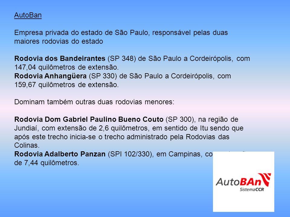 AutoBan Empresa privada do estado de São Paulo, responsável pelas duas maiores rodovias do estado Rodovia dos Bandeirantes (SP 348) de São Paulo a Cor