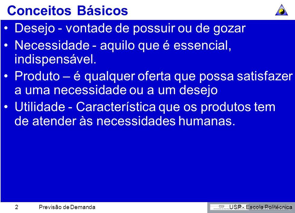 USP - Escola PolitécnicaPrevisão de Demanda2 Conceitos Básicos Desejo - vontade de possuir ou de gozar Necessidade - aquilo que é essencial, indispensável.
