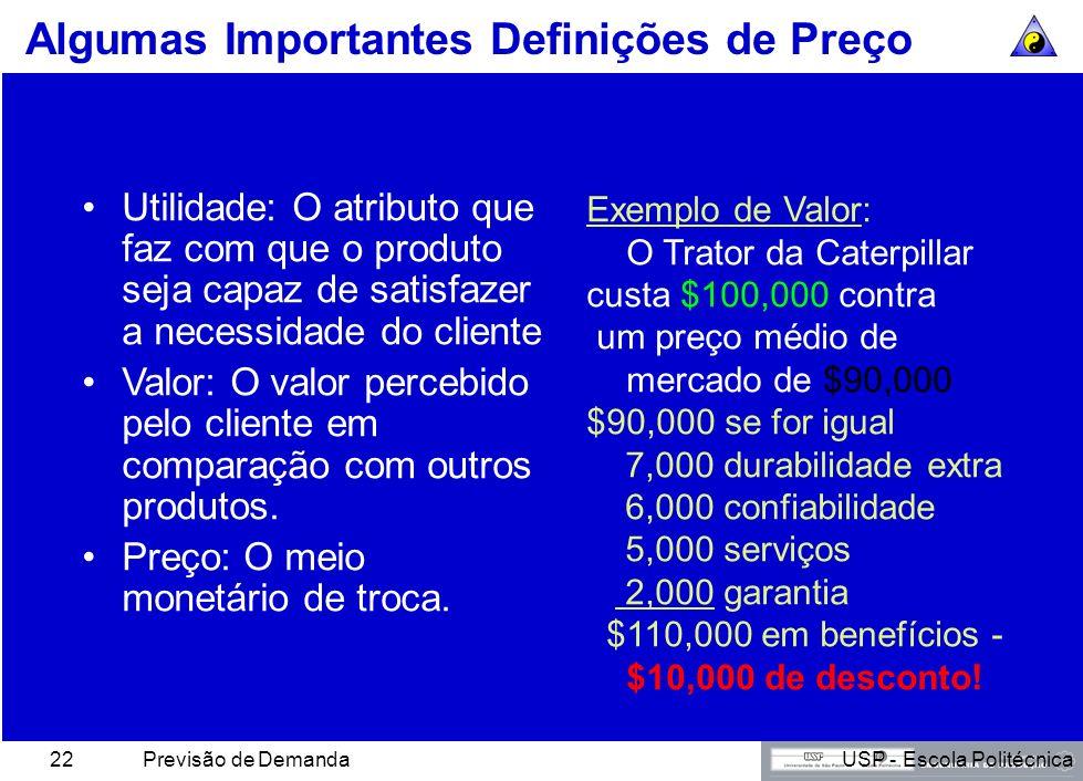 USP - Escola PolitécnicaPrevisão de Demanda21 Métodos de Determinação de Preços Preço de markup Preço de retorno-alvo Preço de valor percebido Preço d
