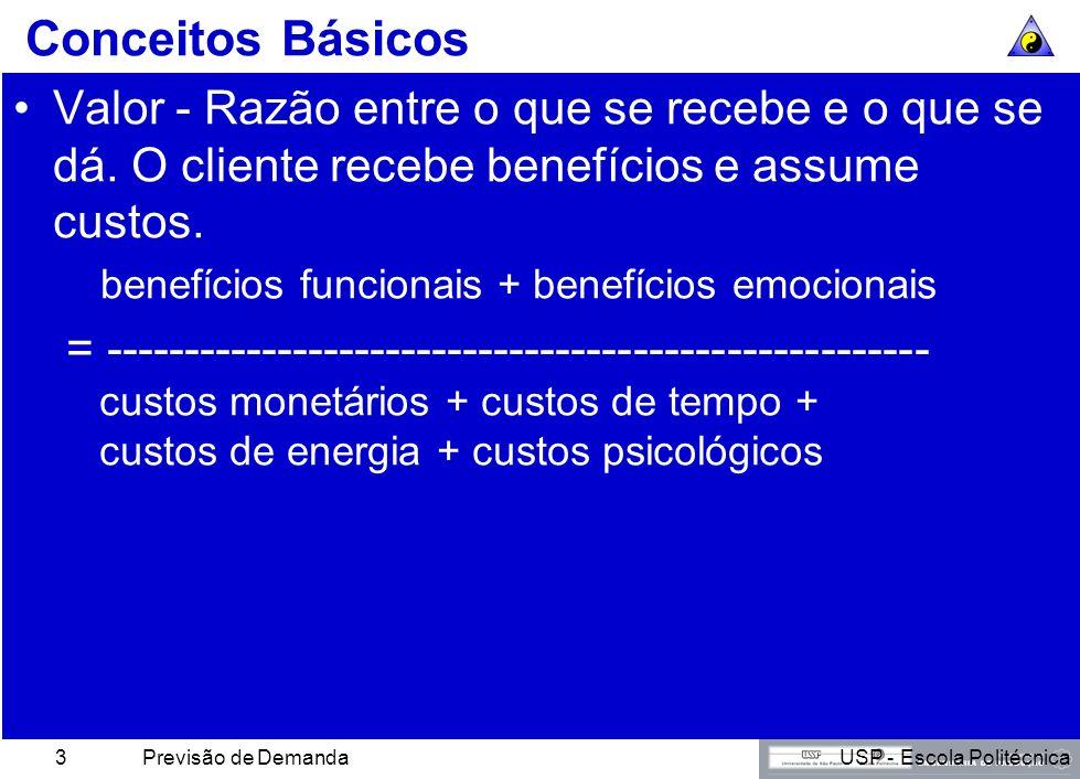 USP - Escola PolitécnicaPrevisão de Demanda3 Conceitos Básicos Valor - Razão entre o que se recebe e o que se dá.