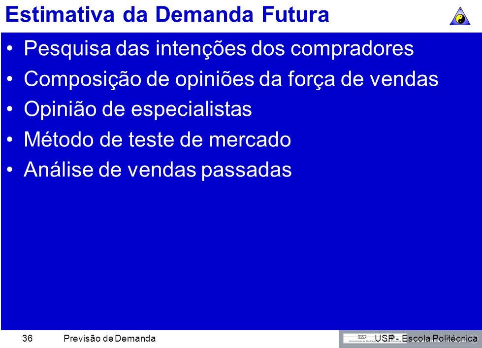 USP - Escola PolitécnicaPrevisão de Demanda35 Estimativa da Demanda Corrente Potencial total do mercado Potencial de mercado da área Vendas setoriais