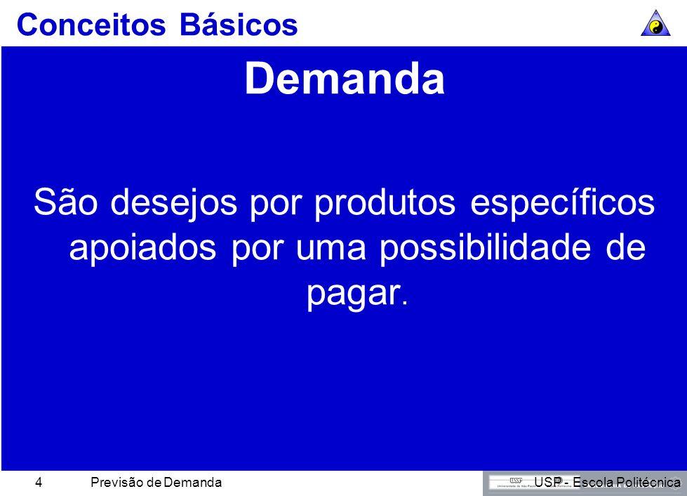 USP - Escola PolitécnicaPrevisão de Demanda4 Conceitos Básicos Demanda São desejos por produtos específicos apoiados por uma possibilidade de pagar.