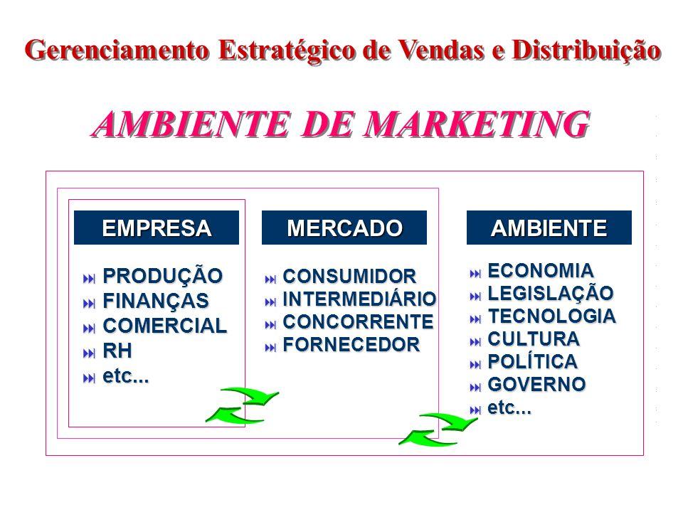 Gerenciamento Estratégico de Vendas e Distribuição AMBIENTE DE MARKETING EMPRESAMERCADOAMBIENTE PRODUÇÃO PRODUÇÃO FINANÇAS FINANÇAS COMERCIAL COMERCIA