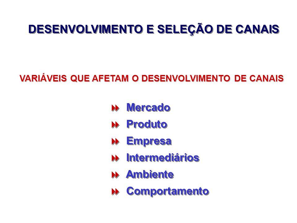 DESENVOLVIMENTO E SELEÇÃO DE CANAIS Mercado Produto Empresa Intermediários Ambiente Comportamento Mercado Produto Empresa Intermediários Ambiente Comp