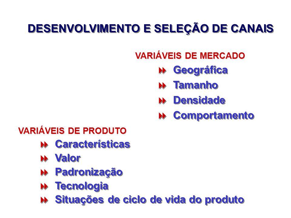 DESENVOLVIMENTO E SELEÇÃO DE CANAIS Geográfica Tamanho Densidade Comportamento Geográfica Tamanho Densidade Comportamento VARIÁVEIS DE MERCADO Caracte