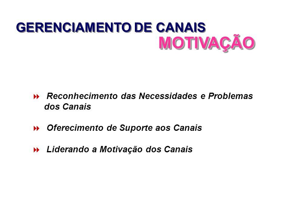 GERENCIAMENTO DE CANAIS MOTIVAÇÃOMOTIVAÇÃO Reconhecimento das Necessidades e Problemas dos Canais Oferecimento de Suporte aos Canais Liderando a Motiv