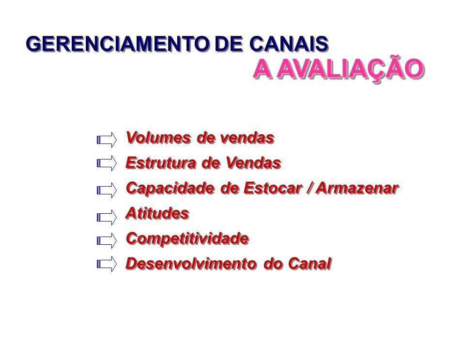 GERENCIAMENTO DE CANAIS A AVALIAÇÃO Volumes de vendas Estrutura de Vendas Capacidade de Estocar / Armazenar Atitudes Competitividade Desenvolvimento d