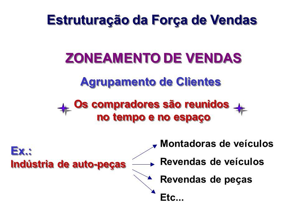 ZONEAMENTO DE VENDAS Agrupamento de Clientes Montadoras de veículos Revendas de veículos Revendas de peças Etc... Os compradores são reunidos no tempo