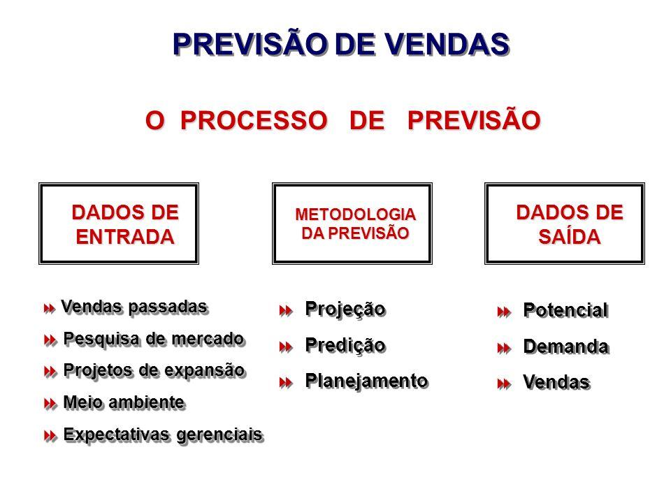 Potencial Demanda Vendas Potencial Demanda Vendas O PROCESSO DE PREVISÃO DADOS DE ENTRADA PREVISÃO DE VENDAS METODOLOGIA DA PREVISÃO DADOS DE SAÍDA Pr