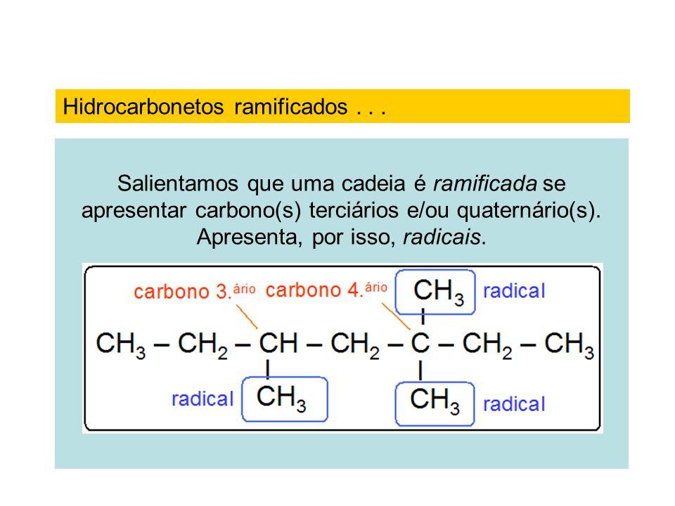 Salientamos que uma cadeia é ramificada se apresentar carbono(s) terciários e/ou quaternário(s). Apresenta, por isso, radicais. Hidrocarbonetos ramifi