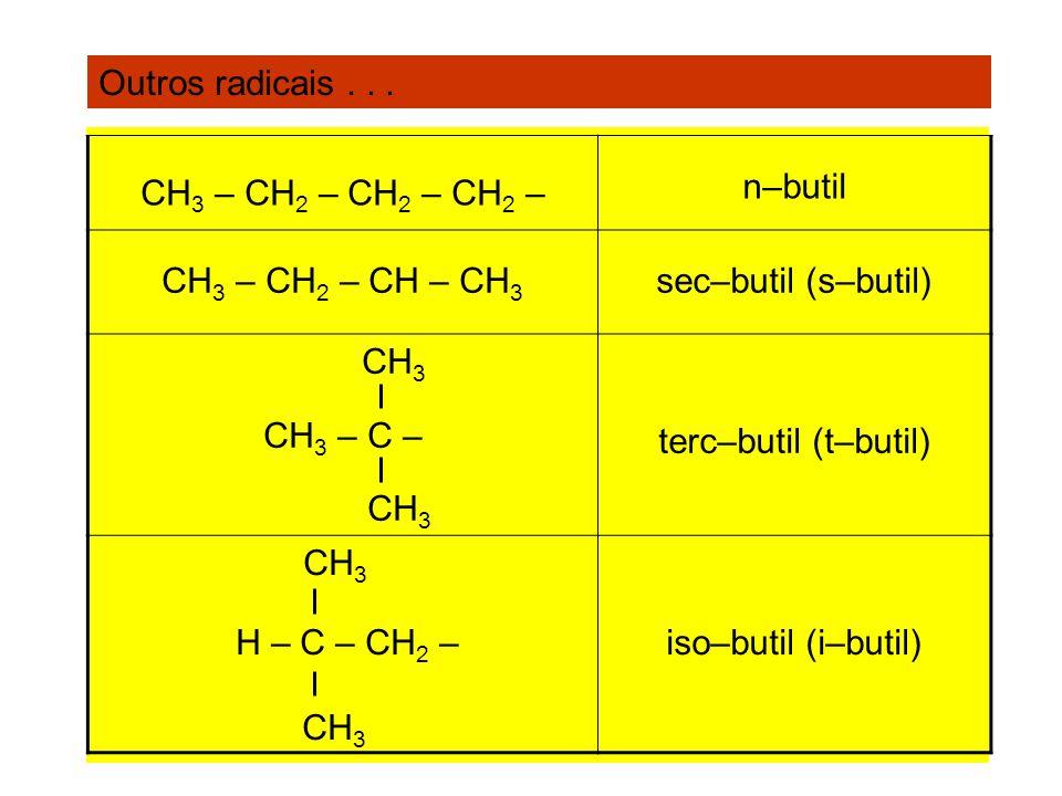 Outros radicais... CH 3 – CH 2 – CH 2 – CH 2 – n–butil CH 3 – CH 2 – CH – CH 3 sec–butil (s–butil) CH 3 CH 3 – C – CH 3 terc–butil (t–butil) CH 3 H –