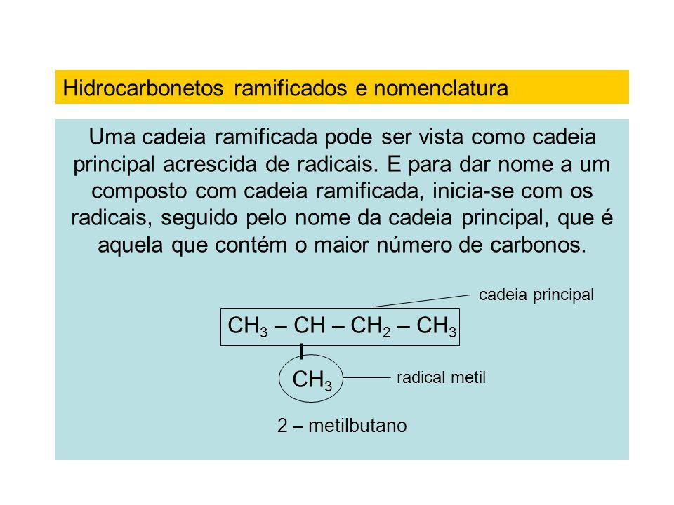 Uma cadeia ramificada pode ser vista como cadeia principal acrescida de radicais. E para dar nome a um composto com cadeia ramificada, inicia-se com o