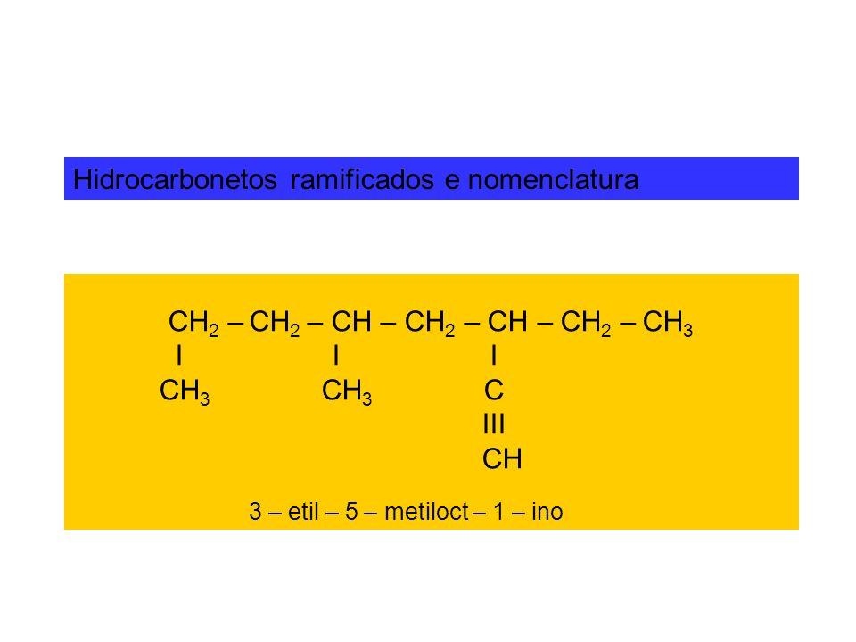 Hidrocarbonetos ramificados e nomenclatura CH 2 – CH 2 – CH – CH 2 – CH – CH 2 – CH 3 I I I CH 3 CH 3 C III CH 3 – etil – 5 – metiloct – 1 – ino