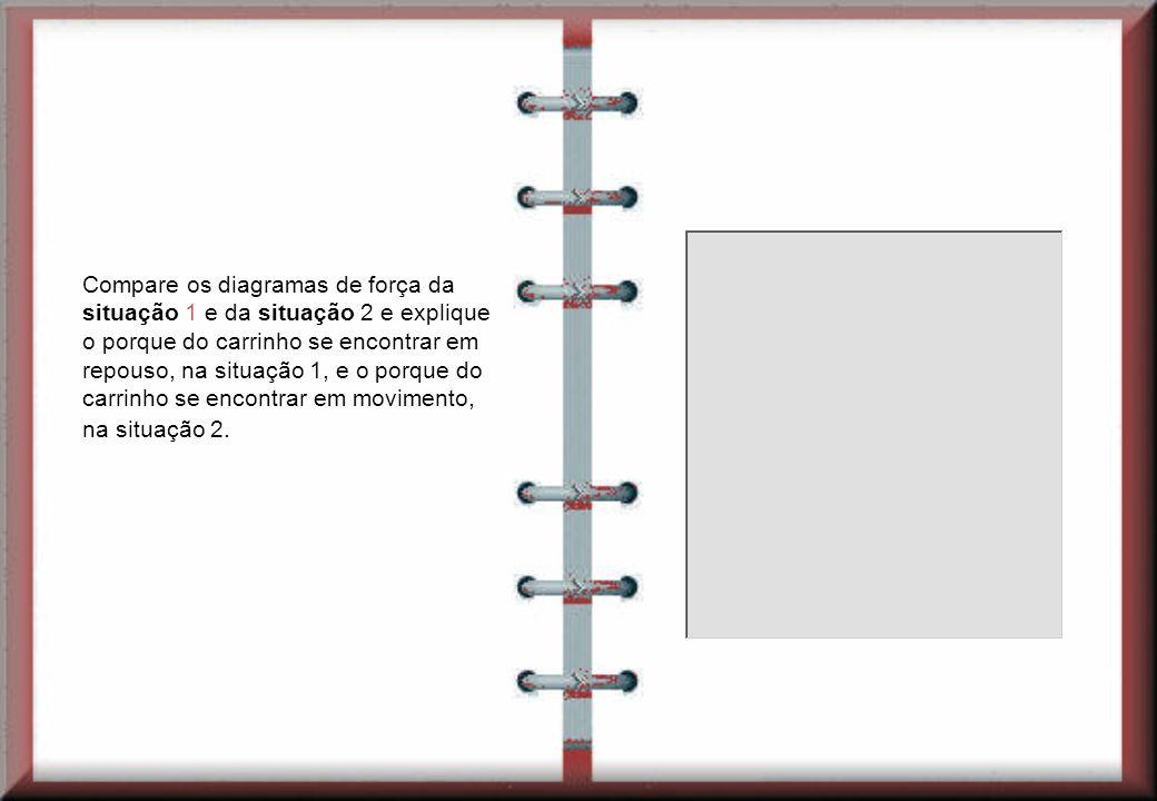 Compare os diagramas de força da situação 1 e da situação 2 e explique o porque do carrinho se encontrar em repouso, na situação 1, e o porque do carr