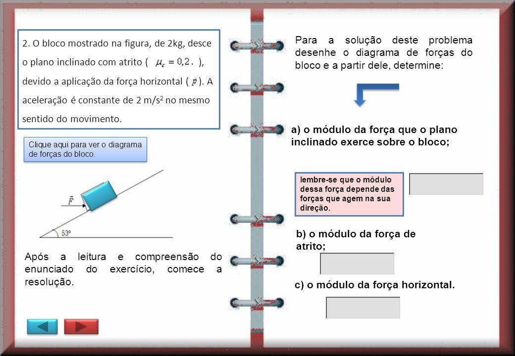 2. O bloco mostrado na figura, de 2kg, desce o plano inclinado com atrito ( ), devido a aplicação da força horizontal ( ). A aceleração é constante de
