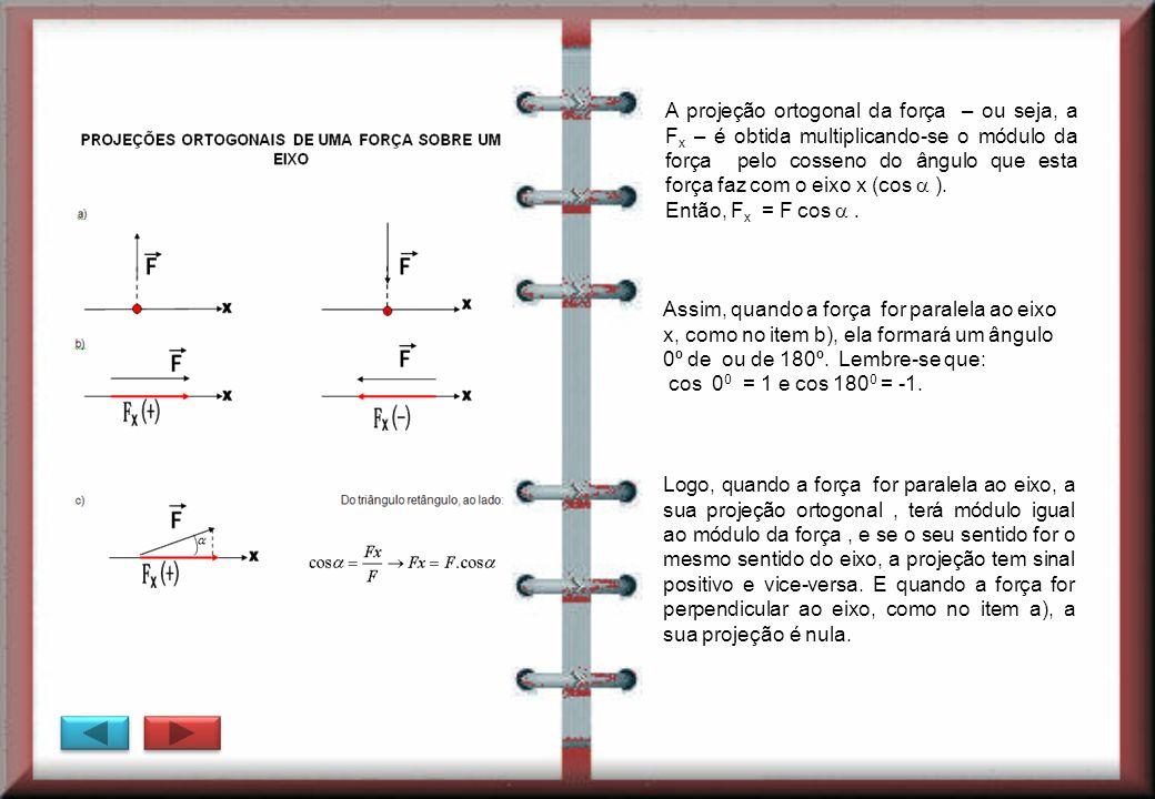 A projeção ortogonal da força – ou seja, a F x – é obtida multiplicando-se o módulo da força pelo cosseno do ângulo que esta força faz com o eixo x (c