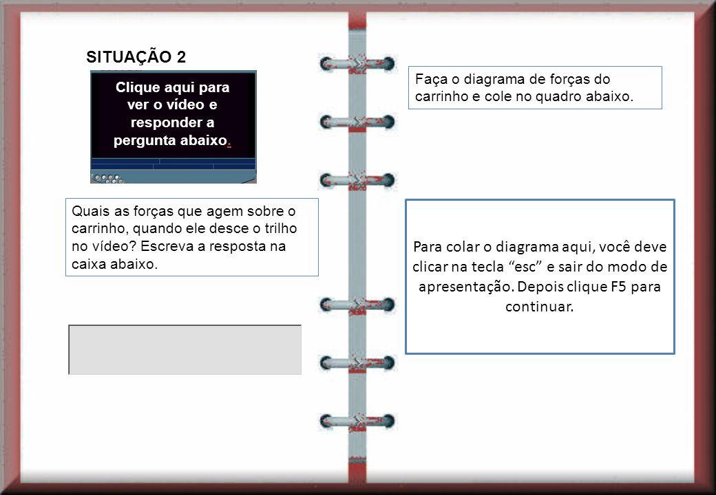 Compare os diagramas de força da situação 1 e da situação 2 e explique o porque do carrinho se encontrar em repouso, na situação 1, e o porque do carrinho se encontrar em movimento, na situação 2.