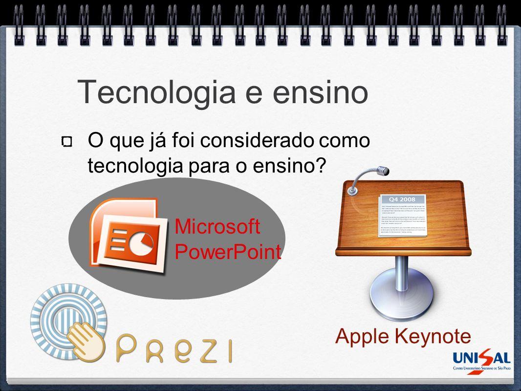 Tecnologia e ensino O que já foi considerado como tecnologia para o ensino? Microsoft PowerPoint Apple Keynote