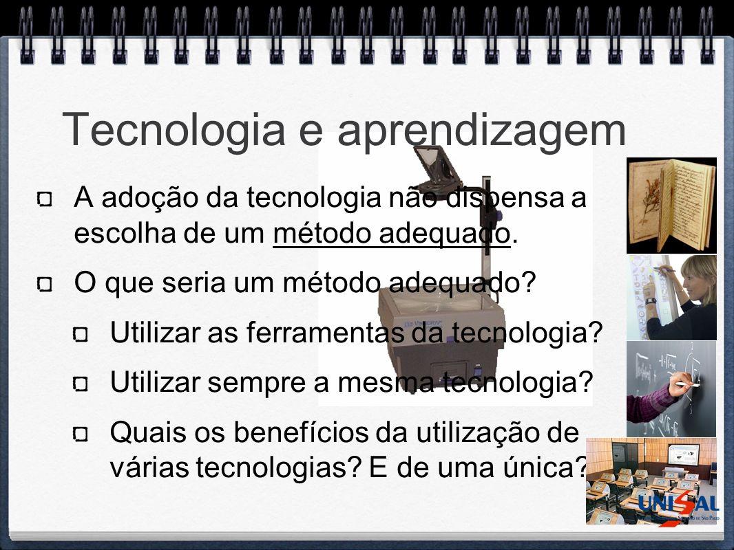 Tecnologia e aprendizagem A adoção da tecnologia não dispensa a escolha de um método adequado. O que seria um método adequado? Utilizar as ferramentas