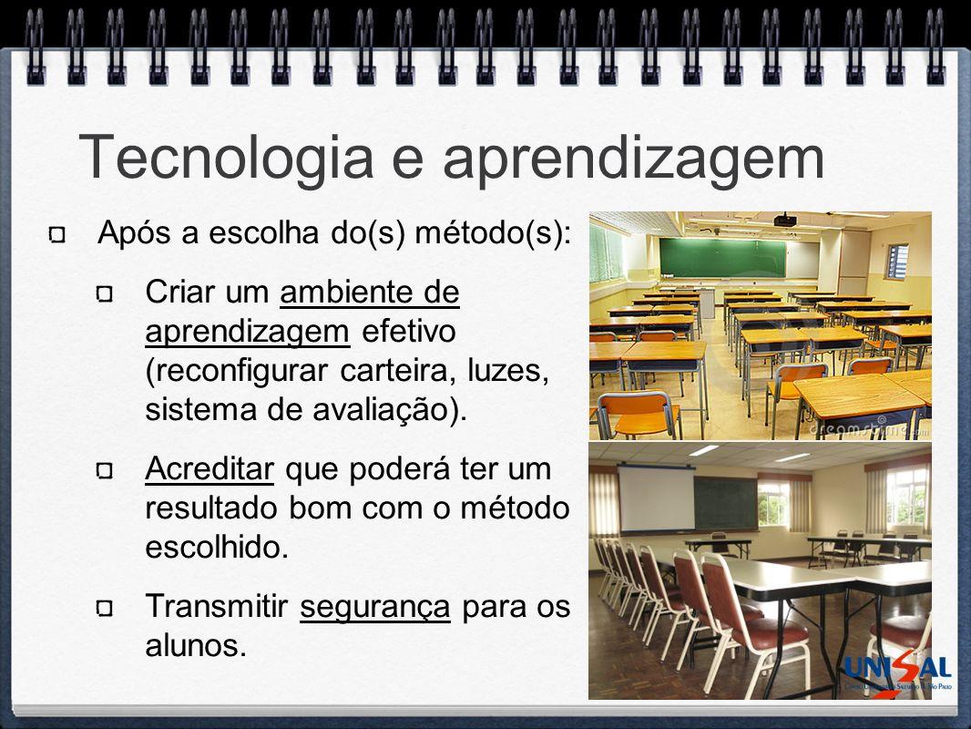 Tecnologia e aprendizagem Após a escolha do(s) método(s): Criar um ambiente de aprendizagem efetivo (reconfigurar carteira, luzes, sistema de avaliaçã