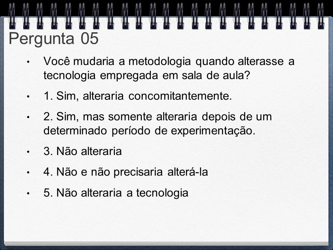 Pergunta 05 Você mudaria a metodologia quando alterasse a tecnologia empregada em sala de aula? 1. Sim, alteraria concomitantemente. 2. Sim, mas somen