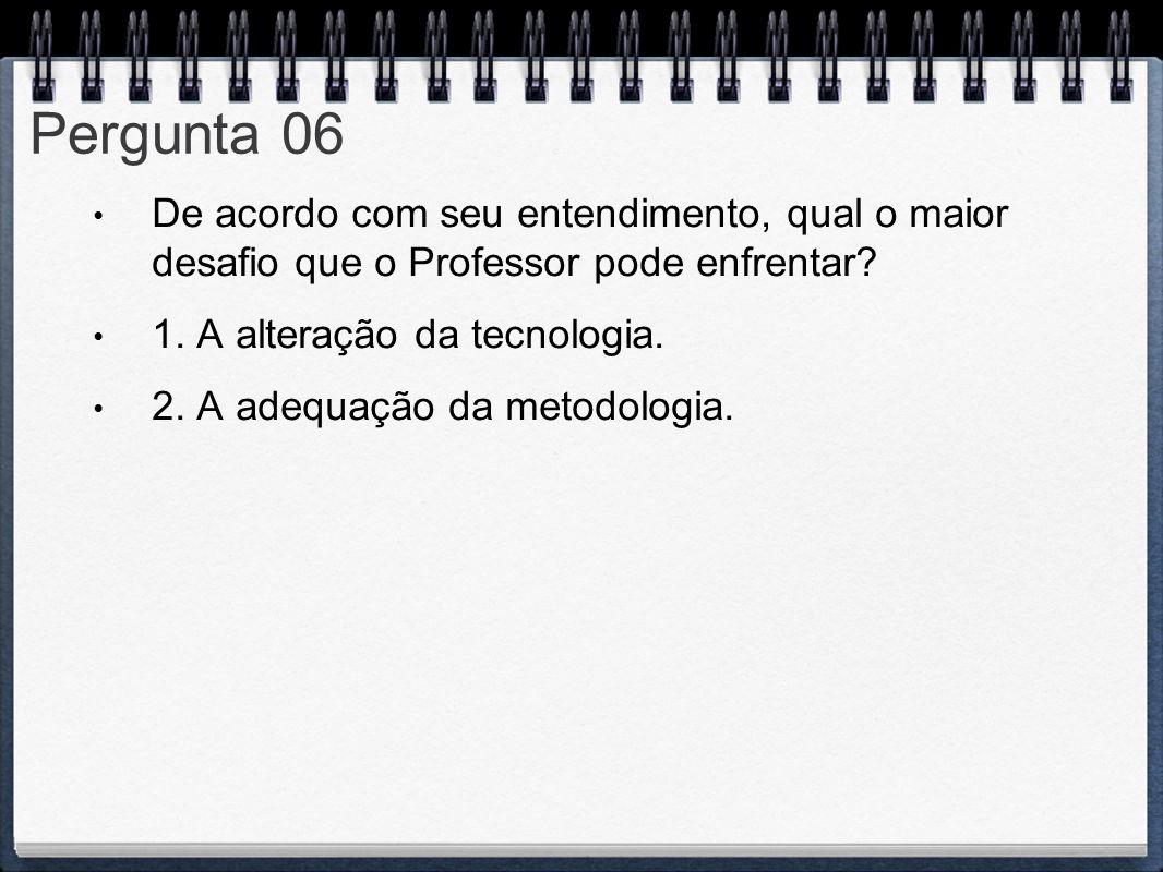 Pergunta 06 De acordo com seu entendimento, qual o maior desafio que o Professor pode enfrentar? 1. A alteração da tecnologia. 2. A adequação da metod
