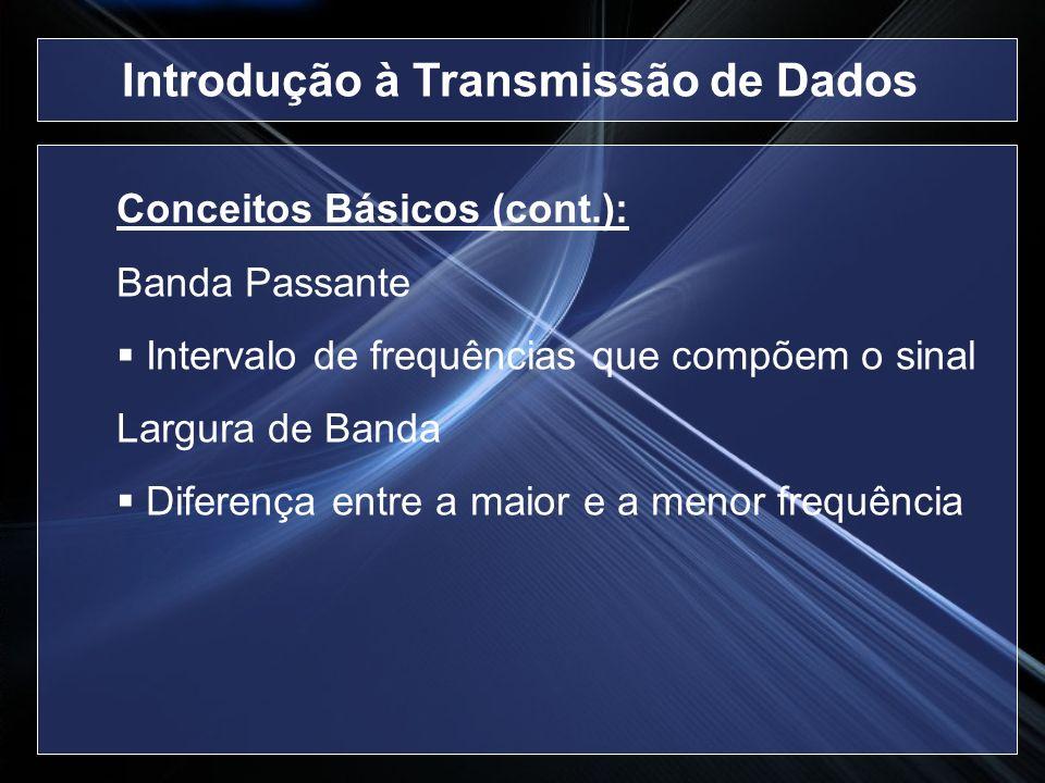 Conceitos Básicos (cont.): Banda Passante Intervalo de frequências que compõem o sinal Largura de Banda Diferença entre a maior e a menor frequência I