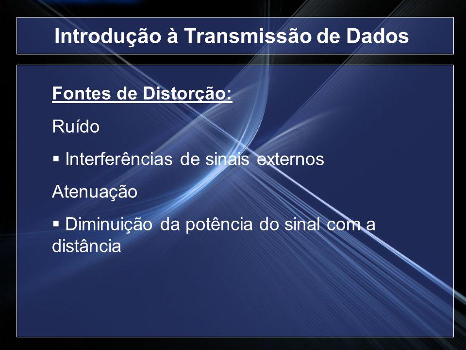 Fontes de Distorção: Ruído Interferências de sinais externos Atenuação Diminuição da potência do sinal com a distância Introdução à Transmissão de Dad