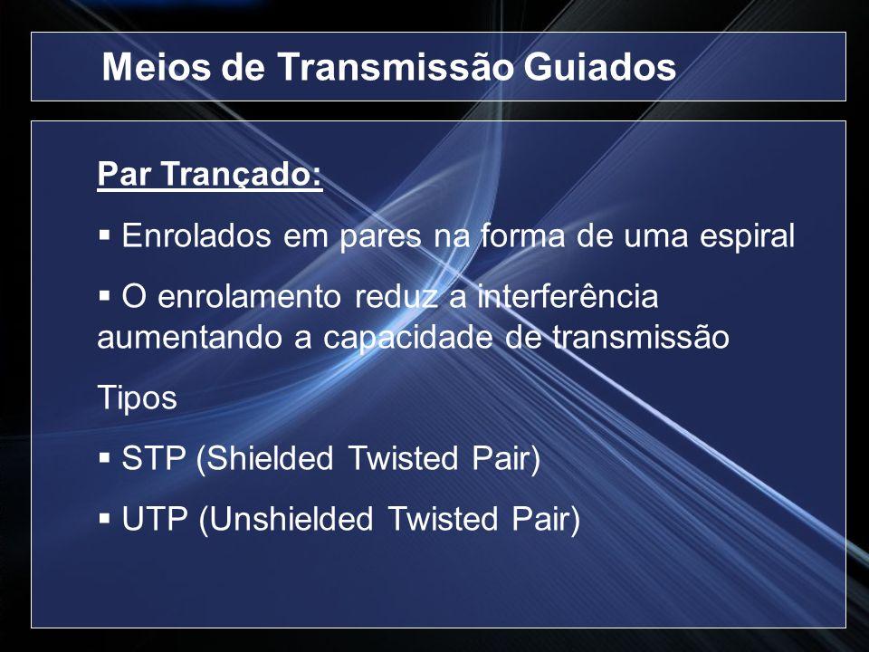 Par Trançado: Enrolados em pares na forma de uma espiral O enrolamento reduz a interferência aumentando a capacidade de transmissão Tipos STP (Shielde