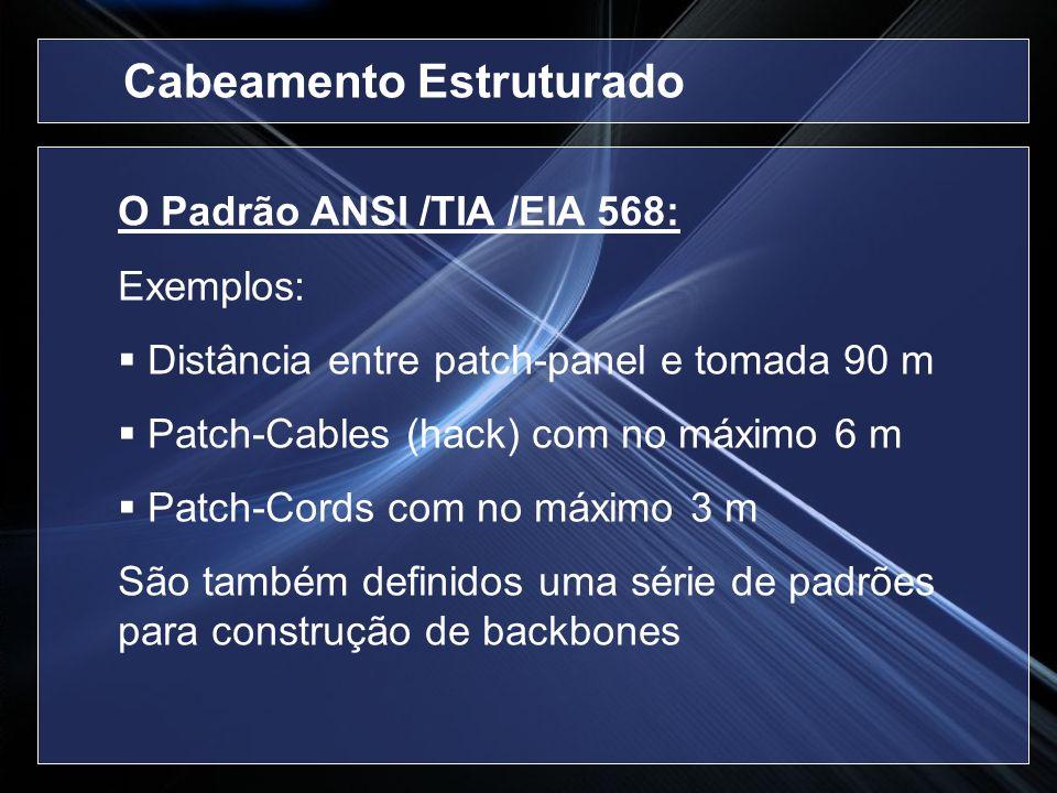 O Padrão ANSI /TIA /EIA 568: Exemplos: Distância entre patch-panel e tomada 90 m Patch-Cables (hack) com no máximo 6 m Patch-Cords com no máximo 3 m S