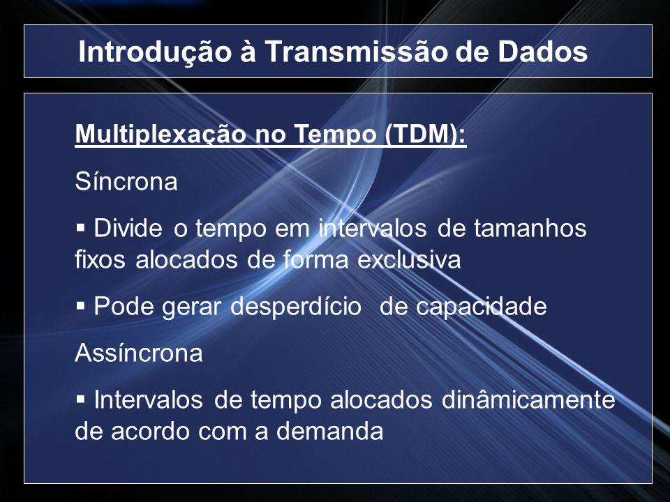 Multiplexação no Tempo (TDM): Síncrona Divide o tempo em intervalos de tamanhos fixos alocados de forma exclusiva Pode gerar desperdício de capacidade
