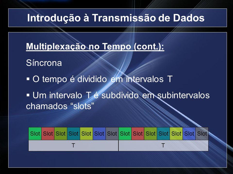 Multiplexação no Tempo (cont.): Síncrona O tempo é dividido em intervalos T Um intervalo T é subdivido em subintervalos chamados slots T Slot T Introd