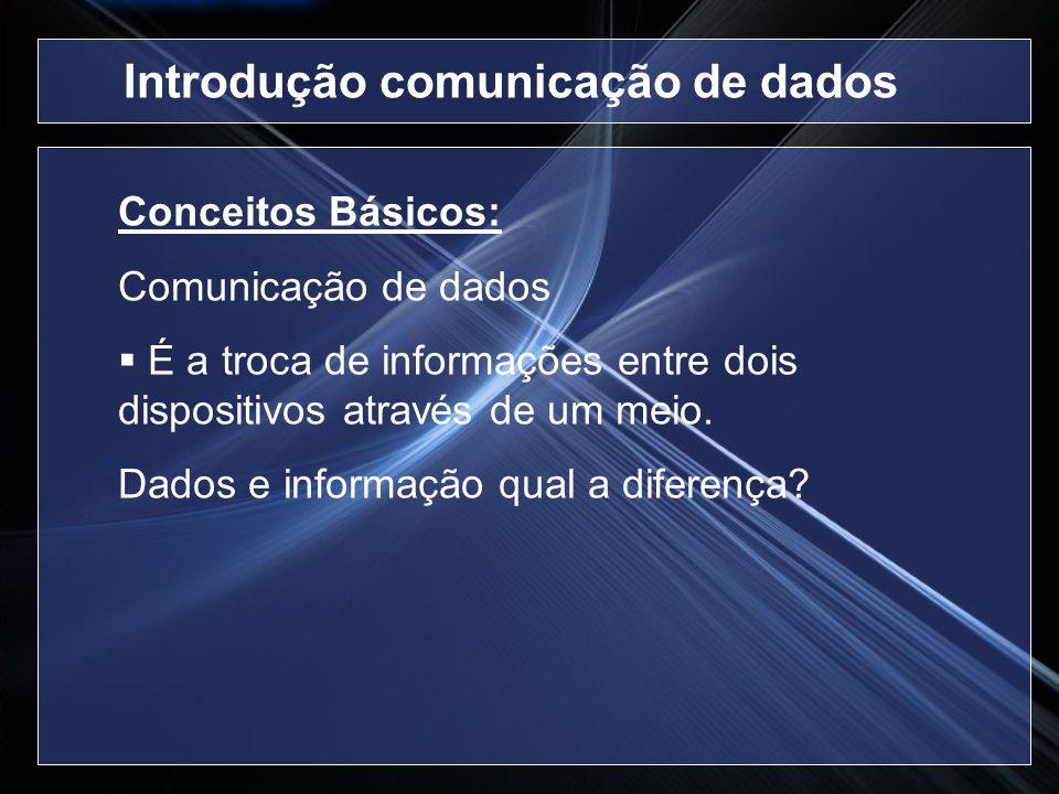 Introdução comunicação de dados Conceitos Básicos: Comunicação de dados É a troca de informações entre dois dispositivos através de um meio. Dados e i