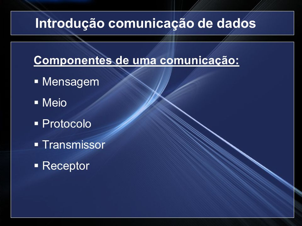 Multiplexação: Permite a transmissão de mais de um sinal pelo mesmo meio Tipos Multiplexação na Frequência (FDM) Multiplexação no Tempo (TDM) Introdução à Transmissão de Dados