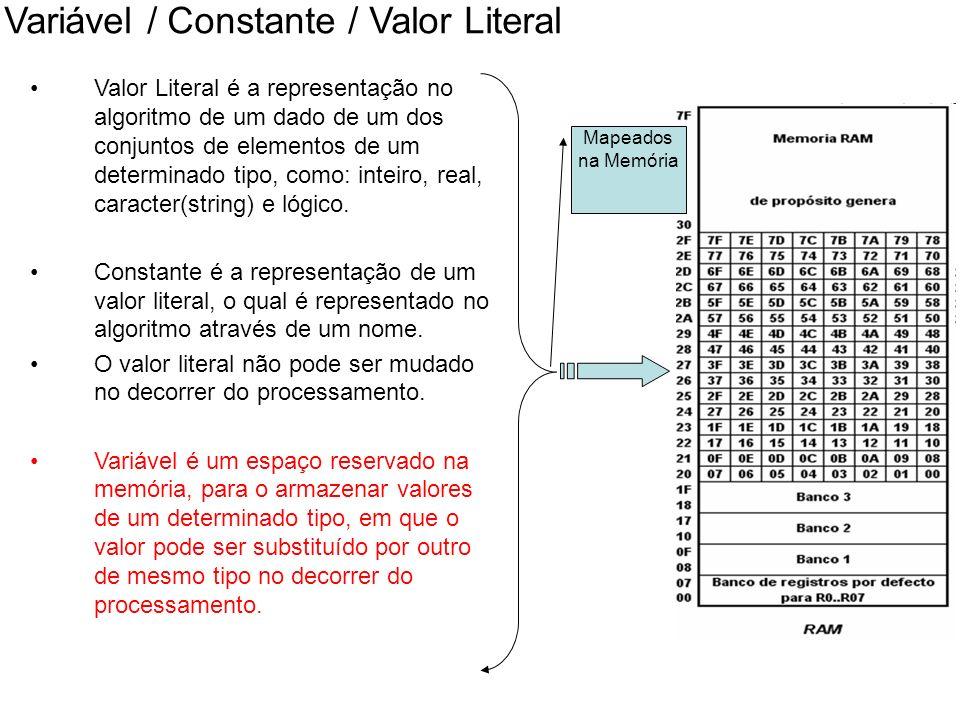 Variável / Constante / Valor Literal Valor Literal é a representação no algoritmo de um dado de um dos conjuntos de elementos de um determinado tipo,