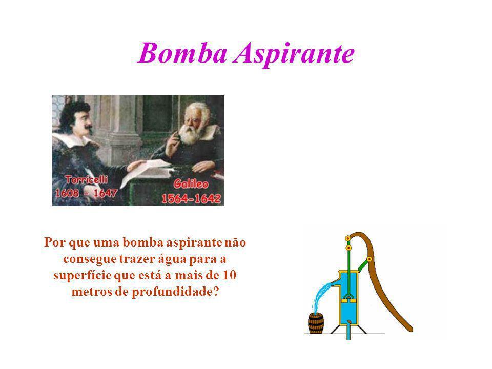 Bomba Aspirante Por que uma bomba aspirante não consegue trazer água para a superfície que está a mais de 10 metros de profundidade?