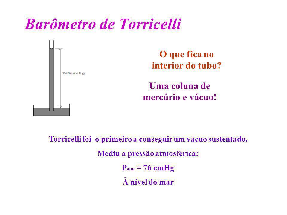 Barômetro de Torricelli Torricelli foi o primeiro a conseguir um vácuo sustentado. Mediu a pressão atmosférica: P atm = 76 cmHg À nível do mar O que f