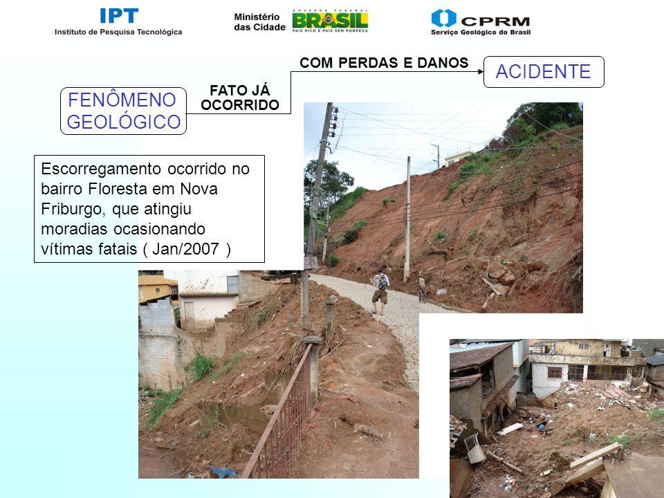 Slide 12 FENÔMENO GEOLÓGICO COM PERDAS E DANOS ACIDENTE FATO JÁ OCORRIDO Escorregamento ocorrido no bairro Floresta em Nova Friburgo, que atingiu mora