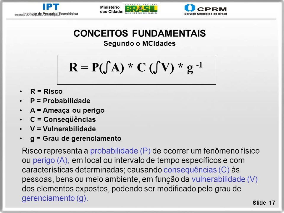 Slide 17 CONCEITOS FUNDAMENTAIS Segundo o MCidades R = Risco P = Probabilidade A = Ameaça ou perigo C = Conseqüências V = Vulnerabilidade g = Grau de