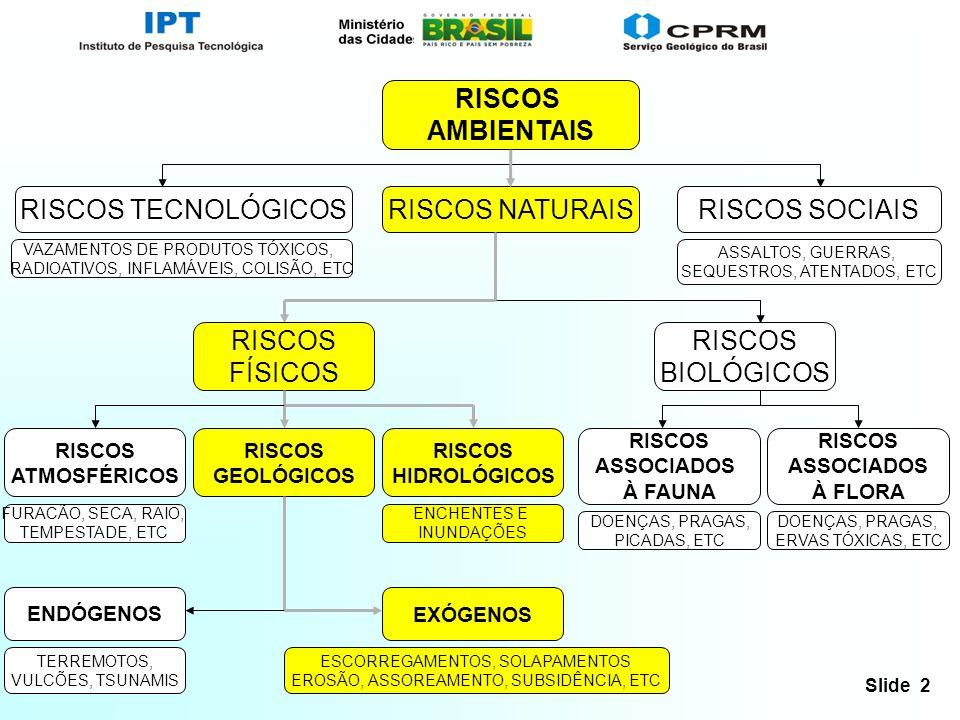 Slide 2 RISCOS AMBIENTAIS RISCOS NATURAISRISCOS SOCIAISRISCOS TECNOLÓGICOS RISCOS FÍSICOS RISCOS BIOLÓGICOS RISCOS GEOLÓGICOS RISCOS ATMOSFÉRICOS RISC