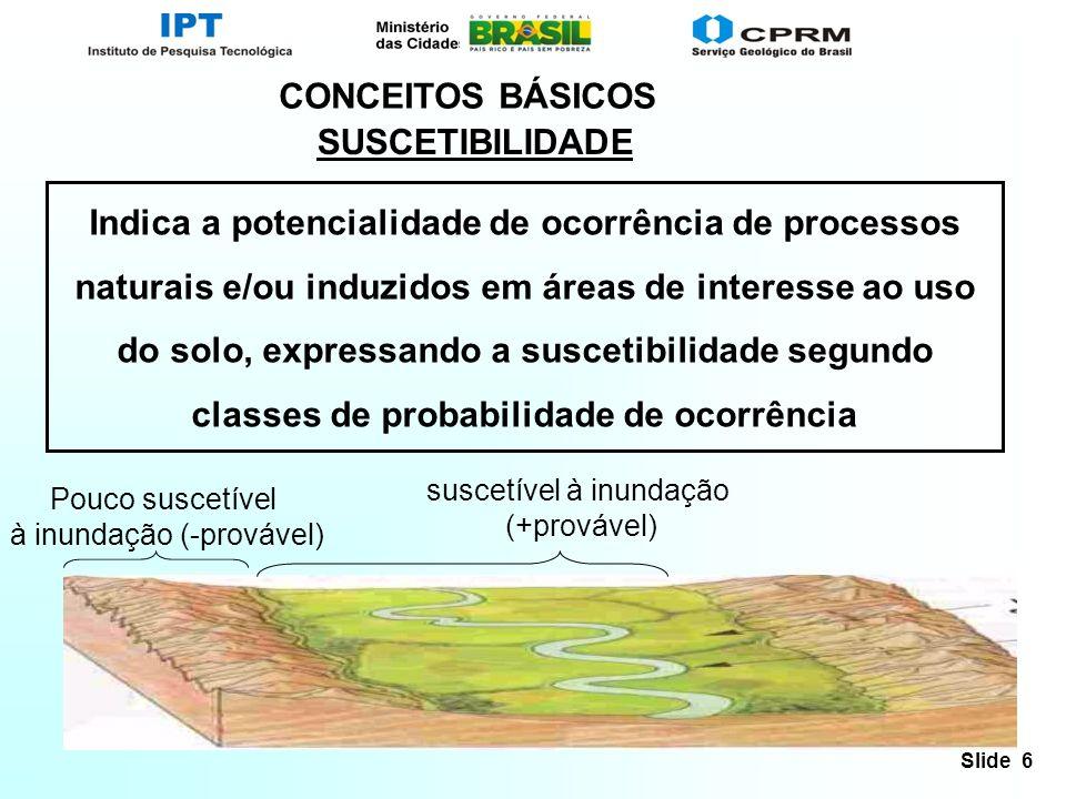Slide 6 CONCEITOS BÁSICOS Indica a potencialidade de ocorrência de processos naturais e/ou induzidos em áreas de interesse ao uso do solo, expressando