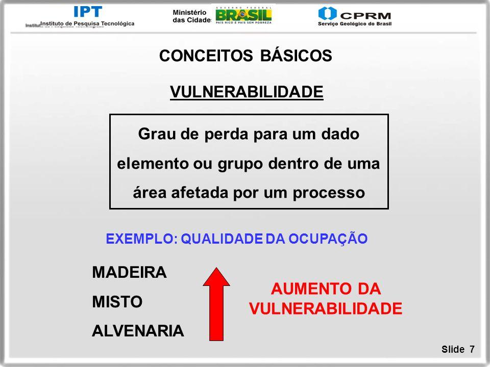 Slide 7 VULNERABILIDADE Grau de perda para um dado elemento ou grupo dentro de uma área afetada por um processo CONCEITOS BÁSICOS EXEMPLO: QUALIDADE D