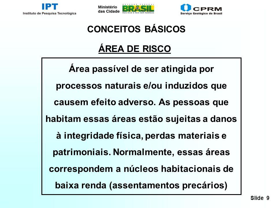 Slide 9 CONCEITOS BÁSICOS ÁREA DE RISCO Área passível de ser atingida por processos naturais e/ou induzidos que causem efeito adverso. As pessoas que